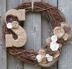 Burlap Wreath with Pearls and Jute Monogram Letter by KAntikoy, $47.00