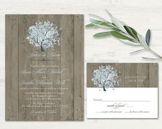 Oak Tree Wedding Invitation and rsvp card set. Rustic country chic wedding invitations designed with your spring and summer wedding in mind. Great for rustic weddings, country weddings, rustic chic weddings, boho weddings and so much more.