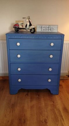 Vintage Chest of Drawers Annie Sloan Greek Blue White Chest Of Drawers, Vintage Chest Of Drawers, Girls Furniture, Paint Furniture, Blue Sectional, Greek Blue, Blue Dresser, Modern Dresser, Santorini
