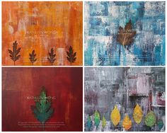 4 x Leaves Abstract Art Prints signed by Artist (1 Set) by KathleenWongArt on Etsy