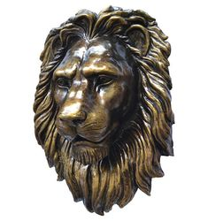 Lion: a force of nature. The attribute of the highest dignity and magnanimity, majesty, indestructibility and mystic power, correlated precisely with the image of the king of beasts. The lion is a symbol of royal power, courage and strength.  It is sure to add interest to any room and is a trendy conversation piece. Lion Head sculpture - beautiful hand crafted, original handmade souvenir! It will look fine in your living room, hall or creative workspace. Large Polystone resin lion head wall…