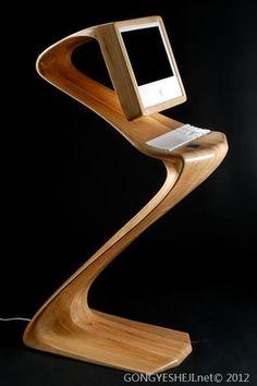 Futuristic wooden computer desk
