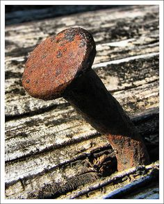 #rustic bent nail, made in 1700s. This is the nails that the farmhouse were built with.