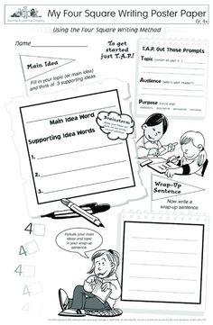Four Square Writing Poster Paper Grades Bring the Four Square Writing Method to life and ignite your students' creativity! Writing Lesson Plans, Daily Lesson Plan, Writing Lessons, Teaching Writing, Four Square Writing, Art Sub Plans, Weekly Lesson Plan Template, Writing Posters, The Learning Experience