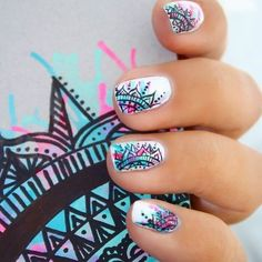 """Receive great pointers on """"top nail art designs"""". They are accessible for you on our site. Fun Nails, Pretty Nails, Nail Ink, Mandala Nails, Mandala Art, Tribal Nails, Best Nail Art Designs, Top Nail, Super Nails"""