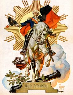 """""""July Fourth"""" -  cover art by J. C. Leyendecker from """"The American Weekly"""" magazine; July 4, 1948"""