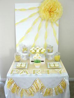 Susan T's Summer / Daisies - Yellow Summer Daisy Party at Catch My Party Dessert Party, Party Desserts, Dessert Table, Dessert Ideas, Party Drinks, Yellow Birthday Parties, Sunshine Birthday Parties, First Birthday Parties, Birthday Ideas