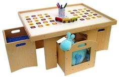 A+Childsupply Toddler Play Table with Storage and 2 Chairs