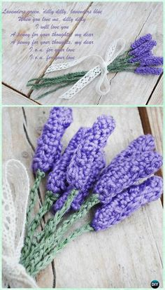 Crochet Lavender Flower Free Pattern-Crochet 3D Flower Bouquet Free Pattern