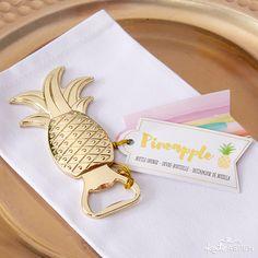 Trending now: pineapples!  Pineapple bottle openers make a wonderful wedding favor for beach or tropical weddings.