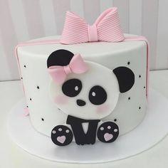 Panda Birthday Cake, Birthday Cake Girls, Baby Birthday, Birthday Themes For Boys, Little Girl Birthday, Bolo Panda, Panda Decorations, Panda Cakes, Food Art For Kids