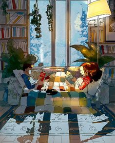 Toasty Comfy By Pascal Campion. Art And Illustration, Illustrations, Anime Kunst, Anime Art, Pascal Campion, Cute Couple Art, Aesthetic Art, Couple Aesthetic, Oeuvre D'art