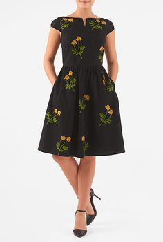 Floral posy embellished cotton poplin dress #eShakti