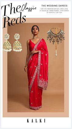 Crimson red saree in dupion silk with cut dana, zari and thread embroidered floral border and buttis. Further trimmed with cut dana fringes on the pallu. Paired with a matching unstitched blouse piece in dupion silk. WASH CARE INSTRUCTION: Dry clean only. Lehenga Designs, Saree Blouse Designs, Dupion Silk, Red Saree, Floral Border, Red Fabric, Fringes, Saree Wedding, Indian Wear