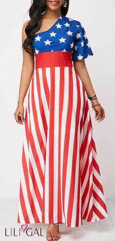Short Sleeve One Shoulder High Waist Maxi Dress 4th Of July Dresses, 4th Of July Outfits, Women's Fashion Dresses, Sexy Dresses, Casual Dresses, 4th Of July Swimsuits, Striped Swimsuit, Club Party Dresses, Clothes For Women