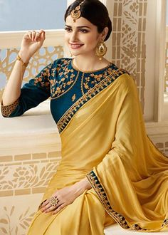 Prachi Desai Beige Georgette Satin Saree with Embroidered Blouse Saree Trendy Sarees, Stylish Sarees, Fancy Sarees, Saree Blouse Neck Designs, Fancy Blouse Designs, Bollywood Sarees Online, Saree Dress, Sari Blouse, Casual Formal Dresses
