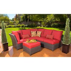 Add modern style and comfort to your patio, lanai or backyard with this lovely Rushreed 3-Piece Outdoor Sectional Sofa Set, Red, Seats 5. It has a sturdy powder-coated steel frame covered in durable woven brown wicker.