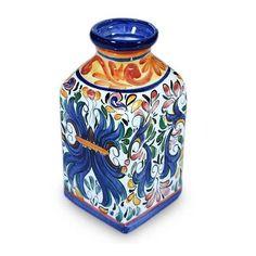 NOVICA Ceramic vase (€91) ❤ liked on Polyvore featuring home, home decor, vases, ceramic vase collection, home accessories, cobalt blue vase, ceramic home decor, ceramic vase, floral home decor and floral vases
