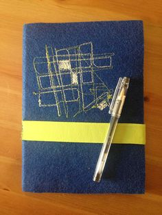 OFFER Handbound notebook map stitched recycled by elquiltro