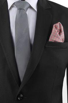 Dark Grey Silk Tie & Shades of Grey Silk Pocket Square set - Tie & Pocket Square Set - Shop By Product - Fashion Accessories