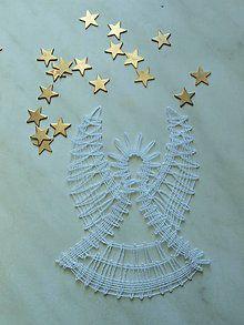 Dekorácie - Vianočný anjel- paličkovaný - 7423630_