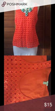 J Crew tangerine eyelet tank Beautiful and vibrant statement tank, by J Crew, preowned in excellent condition. Size M J. Crew Tops Tank Tops