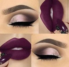 25 Ideas for makeup ideas purple lipstick make up Cute Makeup, Gorgeous Makeup, Pretty Makeup, Easy Makeup, Flawless Makeup, Smokey Eye Makeup, Skin Makeup, Eyeshadow Makeup, Green Eyeshadow