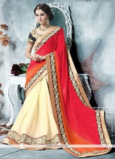 Fab cream and red georgette saree with resham, patch boarder, embroidery, zari, lace and cutdana. Pair with matching art silk blouse.(Slight veriation in color is possibale.)...