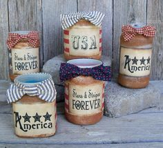 Design Your Own Americana Firelight Candle Jar, Country, Patriotic, 4th of July Decoration, USA, Red, White, Blue, Stars, Stripes