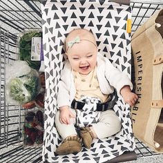 """Binxy Cart Hammocks have arrived in our store and online! You never know how much room a car seat takes up in a cart until you try to put 2 weeks worth of groceries in your cart! But, with this handy hammock, you can place your baby or their car seat, inside to keep the bed of your cart open for groceries. #spacesaver Learn more and shop """"Binxy"""" on babycubby.com!"""