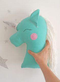 Unicorn pillow plush toy mint unicorn nursery decor by missJoyka