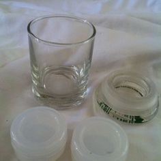 2 non stick containers and a glass stash jar. Non stick containers for concentrates. Stash Jars, Shot Glass, Container, Tableware, Dinnerware, Dishes