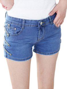 Rivets Side Connective V-Design Denim Personalized Blue Jean Shorts Women's Bottoms on buytrends.com