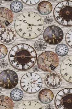 100% COTTON DIGITAL PRINT VINTAGE OLD ANTIQUE CLOCKS CUSHION CRAFT FABRIC in Crafts, Fabric | eBay