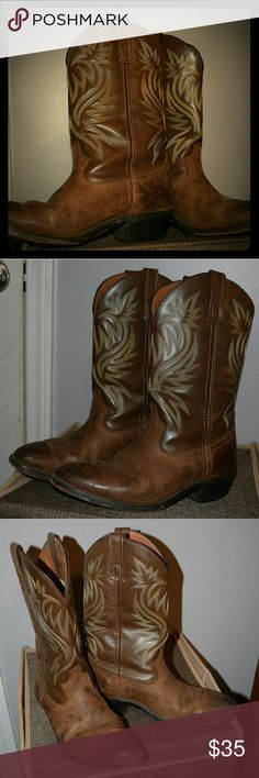 Cowboy Boots These are the most comfortable best boots you could ever wish for! They are very high quality, stitched leather, and hard soled.   Multiple strangers have asked where I got them because they wanted some just like them.  There are some ink dots on one boot because of an art class mess, but honestly it looks pretty cool.  If you want great quality cowboy boots these are for you!  Fit true to size. Shoes