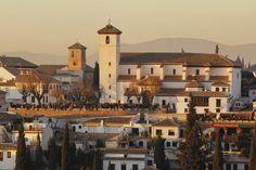 Albaicin neighbourhood and San Nicolas from the Alhambra. #Granada #Spain