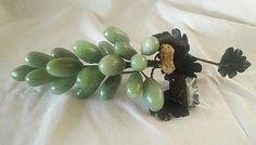 "Vintage Alabaster Marble Green Grape Cluster w/Black Onyx Leaves 9"" Long #Unmarked"