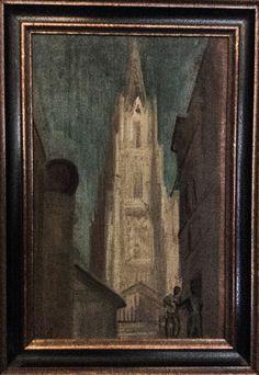 "M.  Habersetzer, ""Regensburg Cathedral"", Oil on cardboard"
