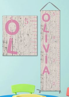 Girl Growth Chart, Canvas Ruler Grow Chart, Kid Height Chart, Pink and Grey Nursery, Rustic Nursery by JoliePrints on Etsy