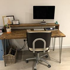 Industrial Desk with Monitor Stand Reclaimed Wood on Hairpin legs Mid Century Rustic Table Vintage Shabby Chic Scaffold Custom Furniture Wood Pallet Furniture, Custom Furniture, Wood Pallets, Furniture Design, Pallet Wood, Custom Desk, Industrial Desk, Rustic Industrial, Vintage Modern
