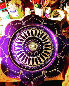 Lizzie's Jeweled Purple Mandala-hand painted by me for Lizzie