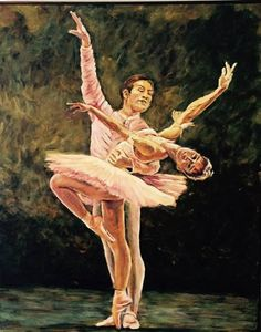 Ballet # 1. Oil on canvas 43 x 54 inches . Mike Halem