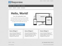 """Responsive"" - 9 pg templates, 9 widget areas, Theme Options, 4 menus. By themeid.com"