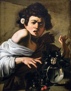 Boy bitten by a lizard by Caravaggio - c.1596. This is a self potrait of Caravaggio as a young boy