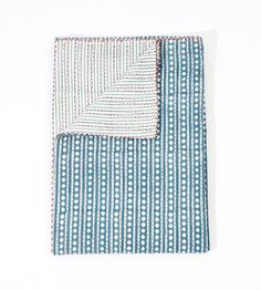 Twin Size Indian Diamond Kantha Quilt Block Print by lavinas