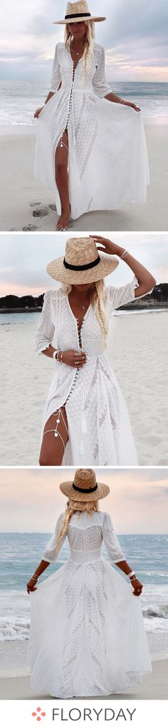 Hourglass maxi dress with sleeves and plain embroidery - Beach Dresses Winter Dress Outfits, Casual Summer Dresses, Casual Fall Outfits, Beach Dresses, Trendy Dresses, Skirt Outfits, Dress Summer, Dress Casual, Chic Dress