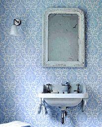 Ashby Damask China Blue/Ivory från Sanderson