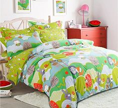 LELVA Cartoon Kids Bedding for Boys and Girls Animal Bedding Childrens Duvet Cover Set Twin Full Queen 3Piece Twin Fitted Sheet ** To view further for this item, visit the image link.