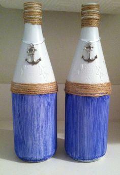 Wine bottle crafting.  Nautical theme, anchor.