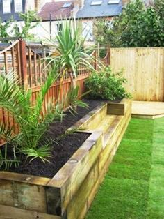 Another take on railway sleepers, but this time dont forget to add in your own restful places to sit and enjoy the beauty of your creations.